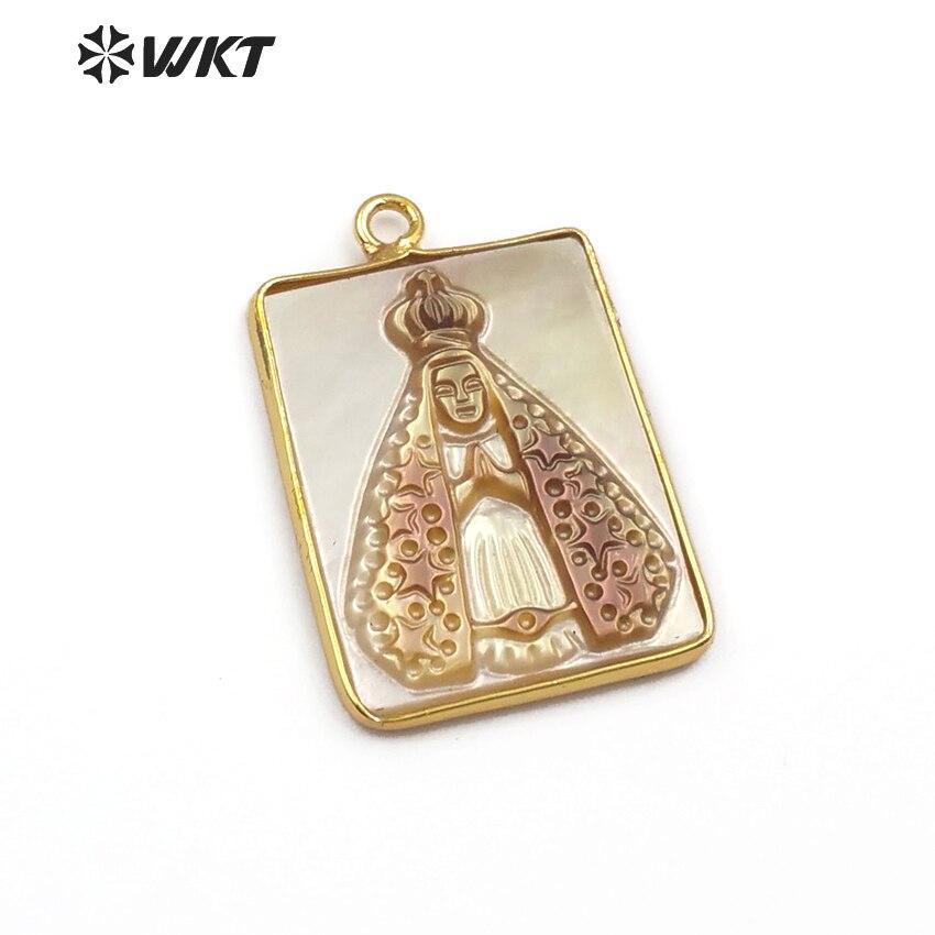 WT-JP082 de concha de mar Natural, joyería con forma de rectángulo, ficha religiosa, carcasa delicada con bisel dorado para COLLAR COLGANTE de las mujeres