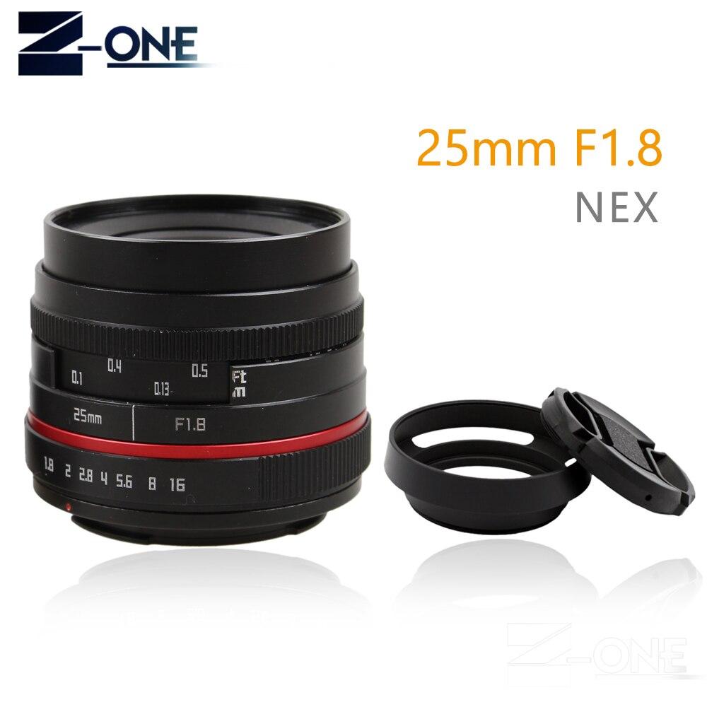 Red 25mm 25 Manual F1.8 Lente + lente Grande Angular Para Sony E Monte Nex-7 Nex-6 Nex-F3 Nex-5T Nex-5R A6300 A6500 A6000 A6100