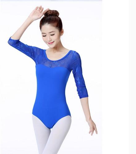 Oferta traje de baile con mangas largas gris azul Leotardos de ballet y gimnasia ejercicio baile ropa Ballet leotardo traje adulto
