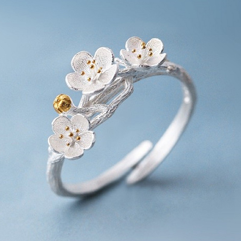 Fashion Cherry Blossom Branch Opening Rings For Women Adjustable Flower Finger Ring Women Ring Bagues Strass Joyas De Acero