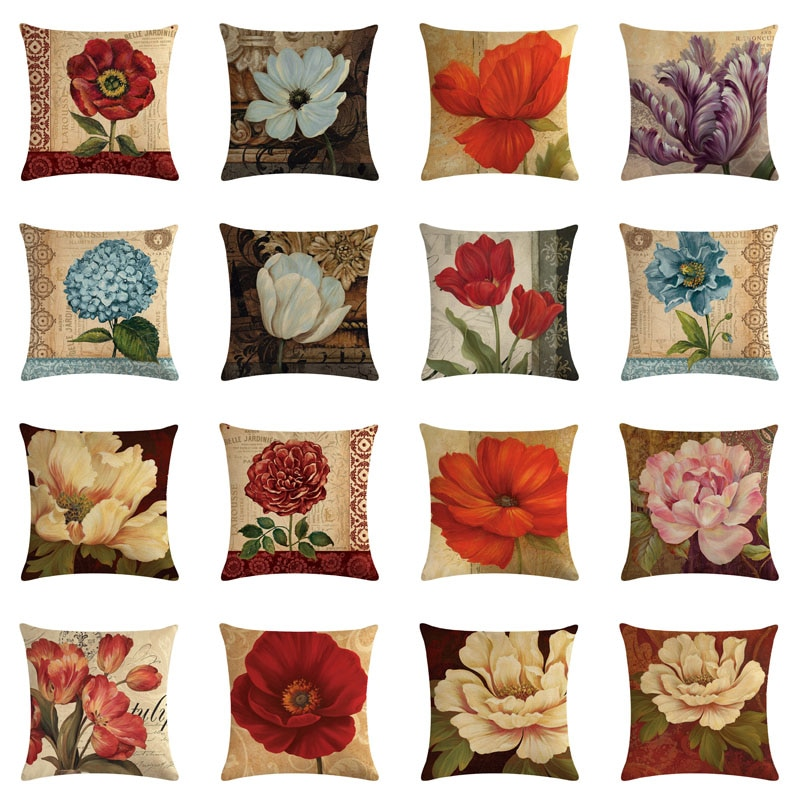 Funda de almohada de lino para sofá decoración del hogar flor retro directo de fábrica