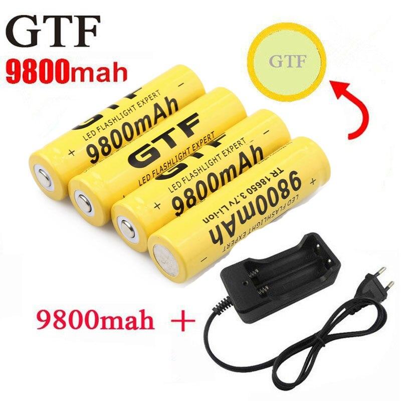 GTF 18650 batería 9800mAh 3,7 V Li-ion baterías recargables para Linterna + UE Li-ion batería cargador acumulador