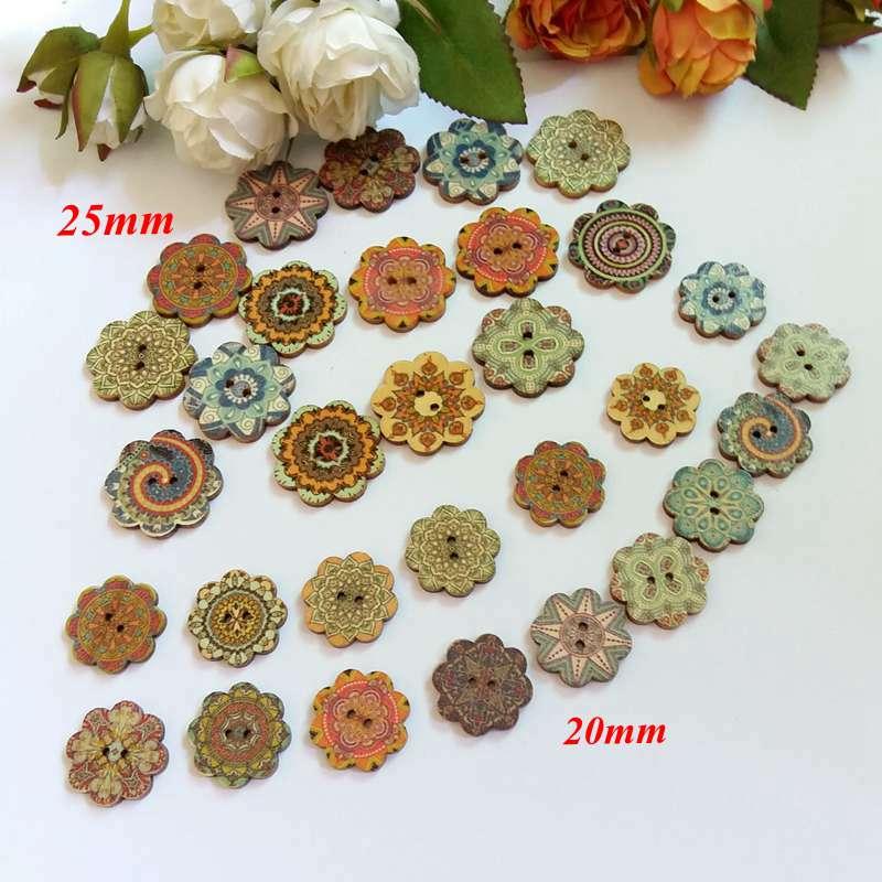 50 pcs 20mm/25mm A Granel Botões Rodada de madeira 2-Buraco Padrão de flor Do Vintage Decoração Scrapbooking Acessórios botoes