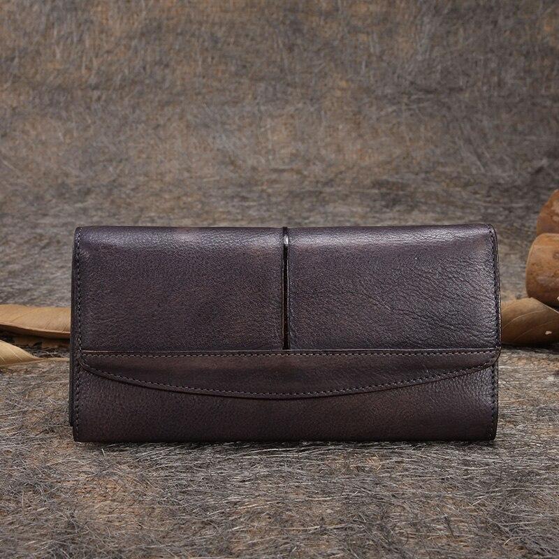 2019 Vintage cuero genuino hebilla magnética hecho a mano de gran capacidad Casual bolso de mano de día Womem Wallet