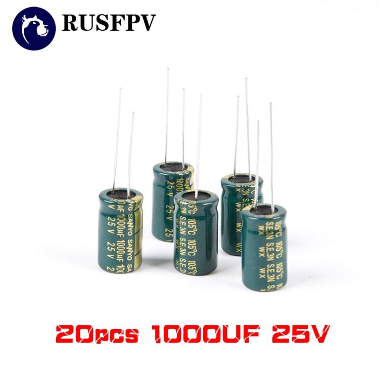 20 шт., 1000 мкФ 25V FM внутренний конденсатор высокой частоты для радиоуправляемого FPV гоночного дрона 30A 40A ESC F3 F4 F7, управление полетом