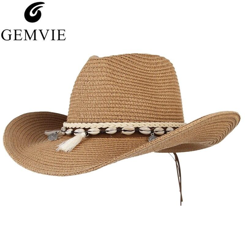 GEMVIE estilo playa sombrero de paja para los hombres y las mujeres clásico sombrero de vaquero dama de moda de borlas de papel tejida sombrero de sol de verano sombrero de playa