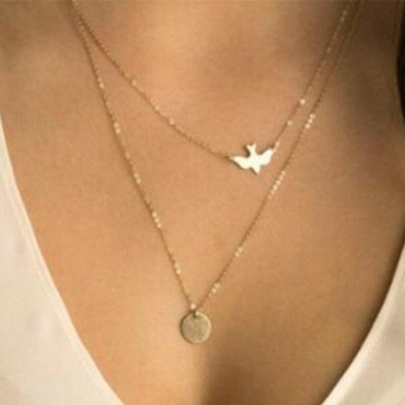 Bijoux d'été faits à la main pour femmes, commerce européen et américain, collier double colombe de paix, ornement simple et fin, vente en gros