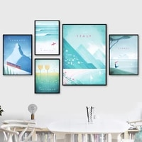 nordic decoration art cartoon travel world cities landscape canvas painting modular wall pictures for living room home decor