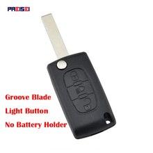 PREISEI 20pcs/lot 3 Buttons CE0523 Light Car Flip Key For Peugeot 207 407 Remote Key Shell Blade Groove No Battery Holder