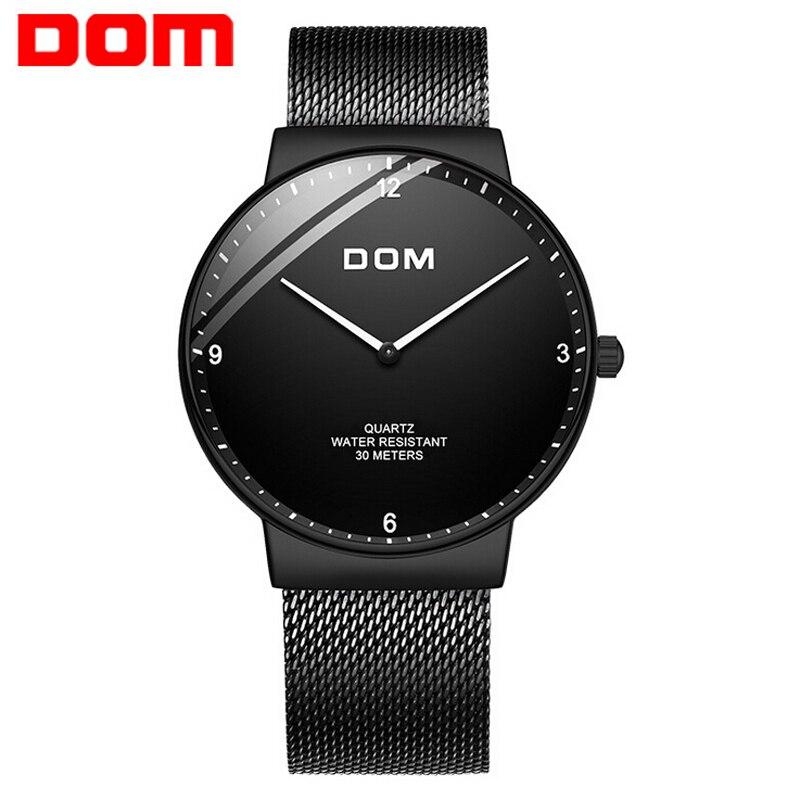 Nuevo reloj DOM para hombre, relojes de moda ultrafinos de 7mm, relojes de cuarzo para hombres de negocios sencillos, esfera curva, masculino hombre reloj relojes