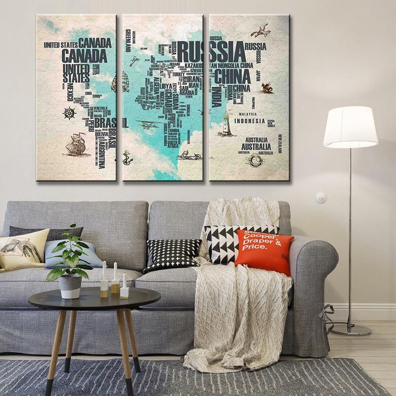 3 шт. Холст Картина карта мира абстрактный синий сердце письмо печать постер для домашнего офиса украшение стены