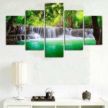 5 panneaux, peinture murale sans cadre   Peintures artistiques, cascade imprimée sur toile, décor de maison pour le salon, décoration de lieu de travail