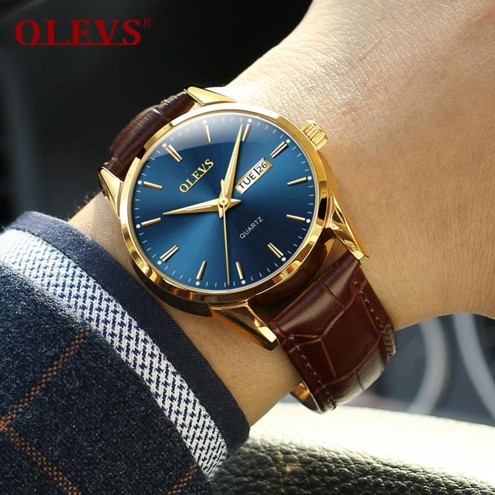 Relojes OLEVS para hombre reloj de moda de lujo para hombre reloj de cuarzo de cuero para hombre con fecha automática reloj de oro rosa reloj masculino