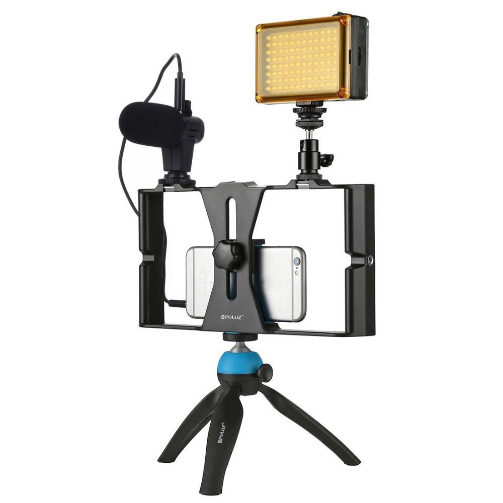 PULUZ смартфон видеосъемка + светодиодный студийный светильник + видео микрофон + мини-набор для крепления штатива с головкой штатива для холо...