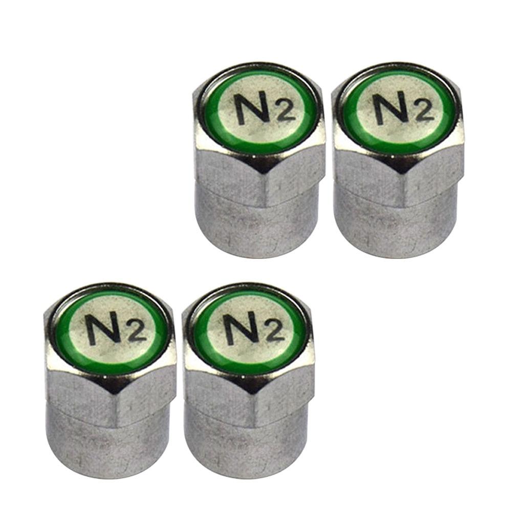 Conjunto de 4 nitrógeno N2 de cobre verde tapas de válvulas con vástago para neumático cubierta a prueba de polvo y prueba de metal a prueba de polvo diseño
