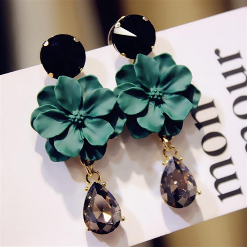 LUBOV Vintage Bohemia Natural Stone Black Crystal Big Earring For Women Fashion Jewelry Green Flower Dangle Drop Earrings Bijoux