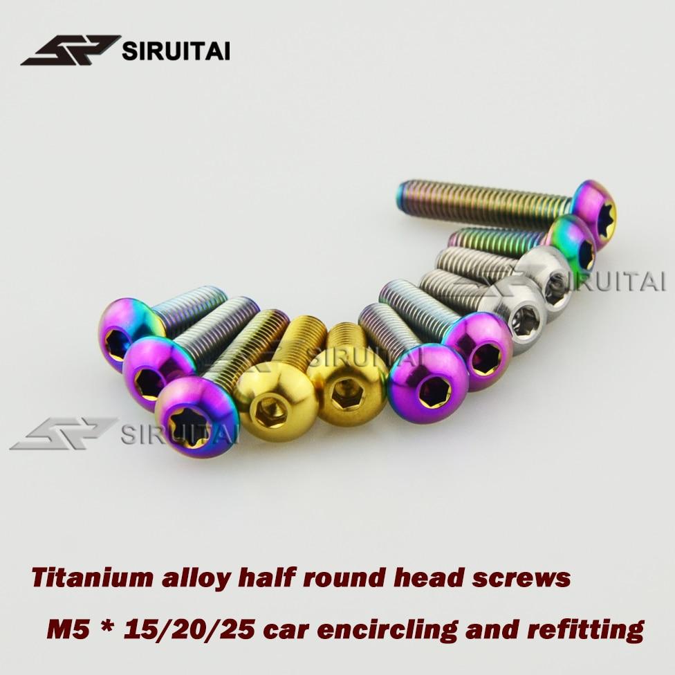 Titanium alloy half round head screw M5* 15/20/25/30mm refit repair screw 10PCS