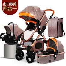 Poussette haute paysage pour bébé doré   Nouveau-né 3 en 1, Portable et pliable, poussette de luxe 2 en 1, livraison gratuite