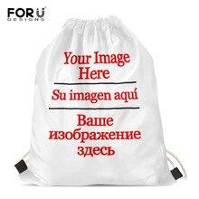 FORUDESIGNS sacs à cordon Logo personnalisé/Image pochette sac à dos tirer corde sac de gymnastique Mochila sac à dos pochette de rangement