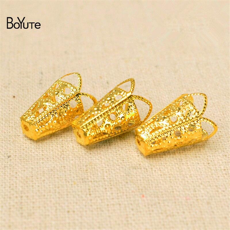 Tapas de cuentas de flores BoYuTe 100 Uds 10*16MM Metal latón filigrana para borlas Diy partes de accesorios de joyería