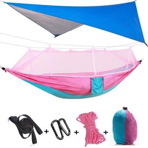 Portable Nylon Camping Hammock Mosquito Net with Rain Fly Tent Tarp for Outdoor Windproof,Anti-Mosquito Sleeping Hammock Bed