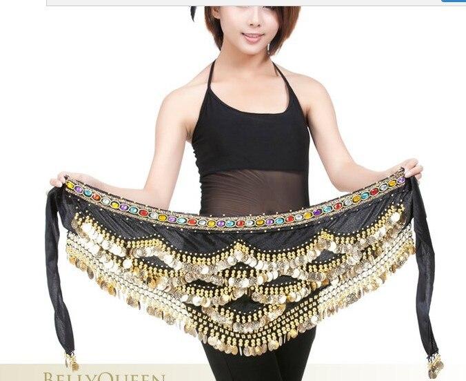 ¡Envío gratis! 360 g/unidad de cadena de cintura para baile del vientre toallitas fanon nuevas 328 monedas de oro de colores rhinestone Nilo Cadena de cintura
