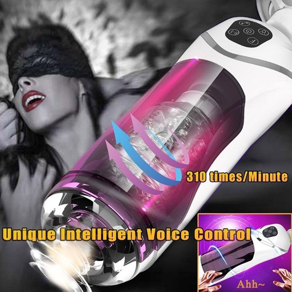 Vagina realista dult juguetes sexuales para hombres Vagina de silicona masturbador masculino Real totalmente automático 10 bandas telescópicas suministros de voz H3