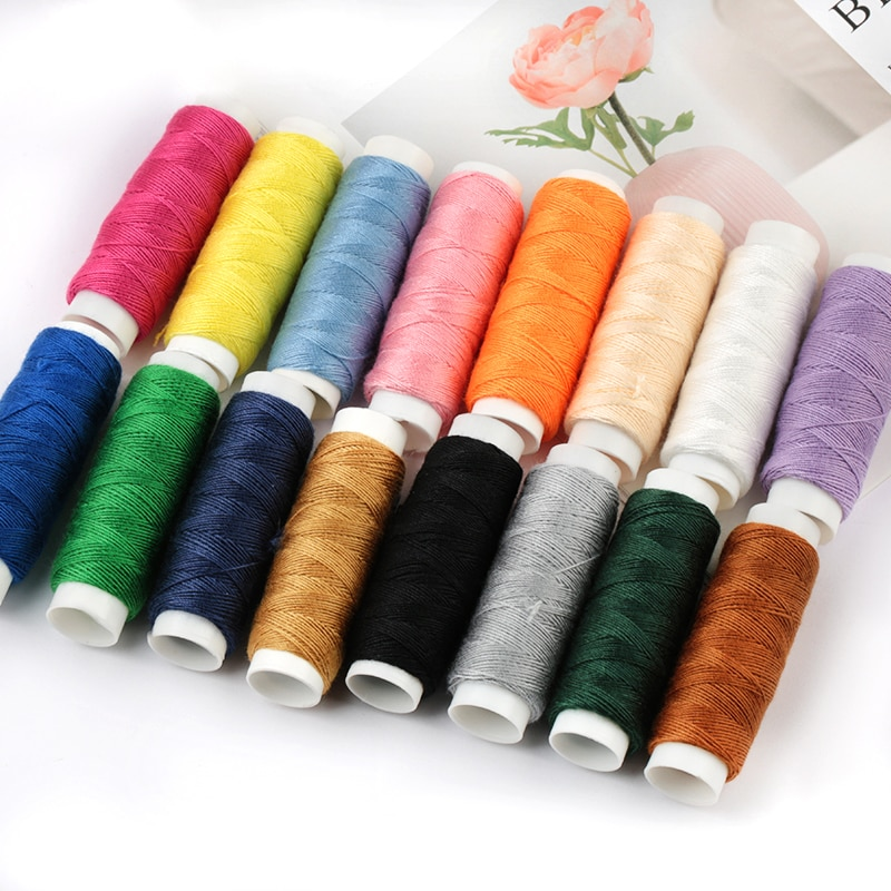 50M/rollo Multi-color cosido a mano denim hilo grueso aguja de coser diy costura a juego de poliéster pequeño rollo