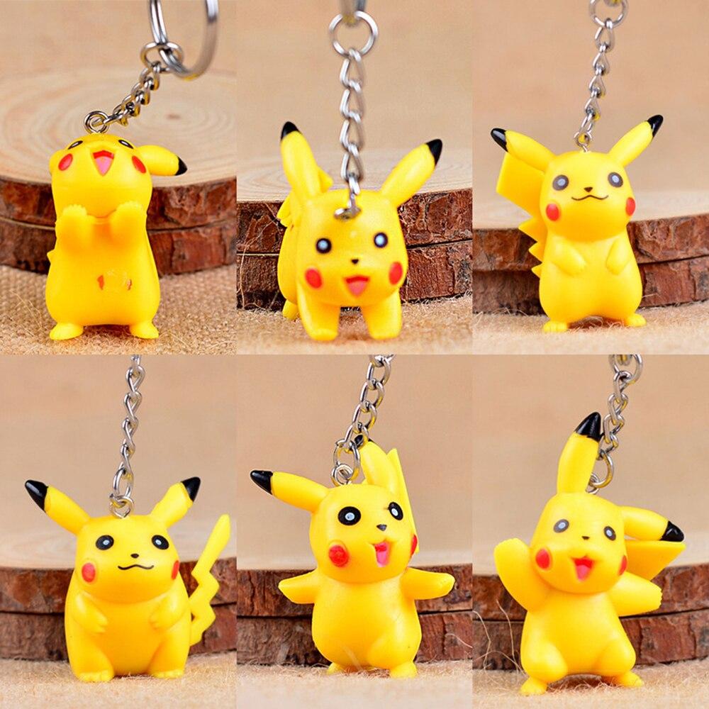 Llavero con anilla Pikachu 3D Anime pokomon go llavero con bolsillo monstruos llavero colgante figura Juguetes