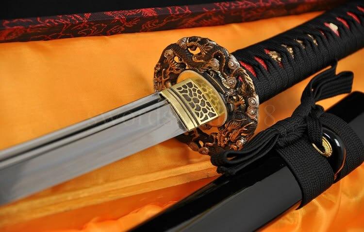 REAL HAMON espada de samurái japonesa KATANA FULL TANG Clay Tempered unokubi-zukuri Blade dragón de bronce tsubar-hanbon hecho a medida