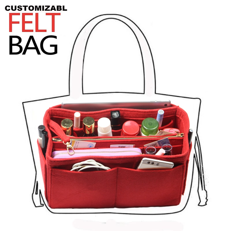 Ajuste [artsy mm, alma mm] feltro inserir saco organizador bolsa bolsa bolsa bolsa no saco para speedy neverful com bolso zip destacável