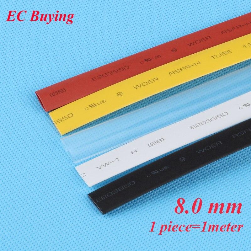 1 м/шт. 8 мм термоусадочная трубка для обмотки проволоки термоусадочная трубка 2:1 термоизоляция материал Материал черный белый желтый прозрачный красный