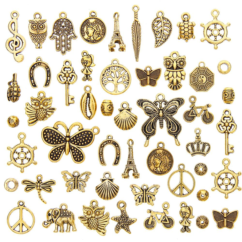 50 шт., разноцветные Античные Подвески в виде анкеров золотого цвета для браслета и ожерелий, аксессуары для самостоятельного изготовления ювелирных изделий