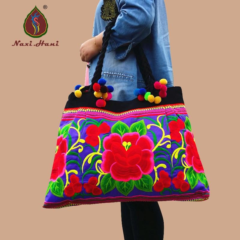 Vintage حقائب النساء سعة كبيرة العرقية الأزرق القطن القماش زهور كبيرة حقائب كتف مطرزة