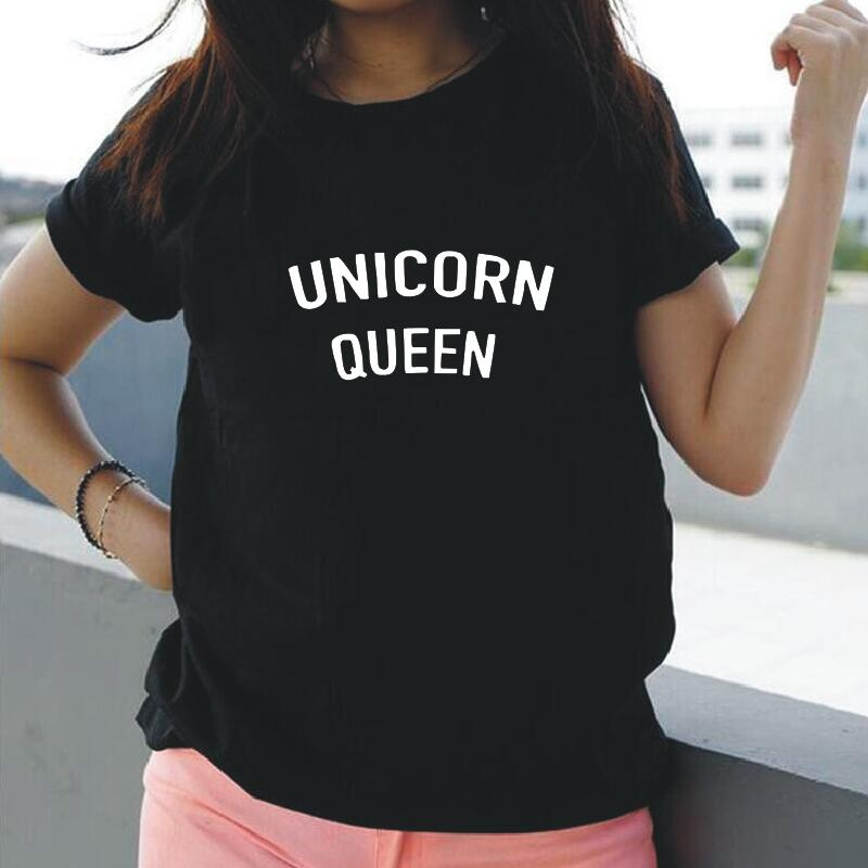 Unicornio reina divertida Streetwear mujer Camiseta de manga corta Mujer ropa Tumblr Hipster camisetas Casual Camisetas De Tallas grandes