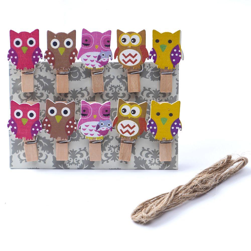 10 pçs/saco mini coruja bonito de madeira roupas de papel foto peg pino clothespin artesanato alimentos clipes de cartão postal casa artesanato decoração