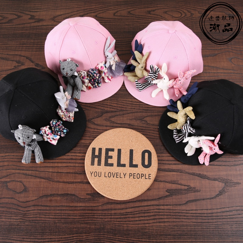 Fashion korean cartoon bear rabbit baseball caps kids trendy handmade cute sun hats vacation casual Visor snapback caps for 3-7