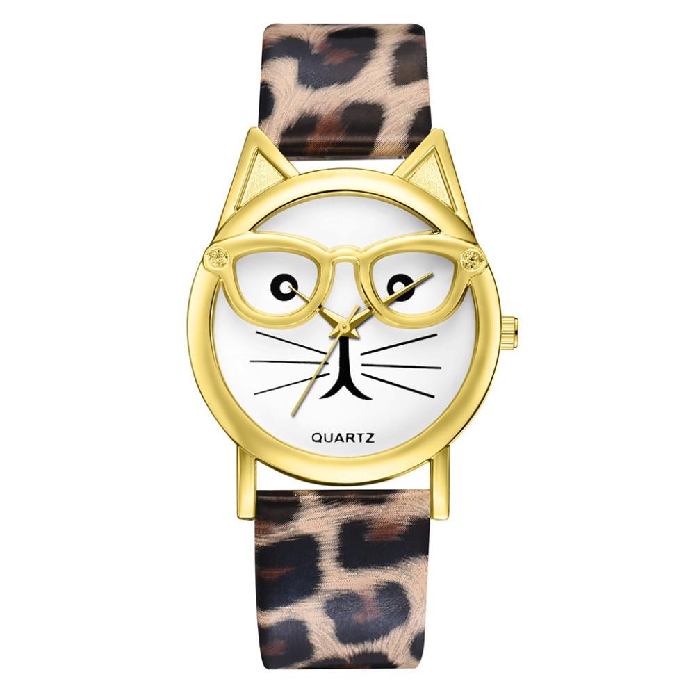 Fashion Simple Reloj Mujer Women Watches Cute Glasses Cat Dial Ladies Watch Leather Band Quartz Wrist Watch Girl Gift Clock XB40