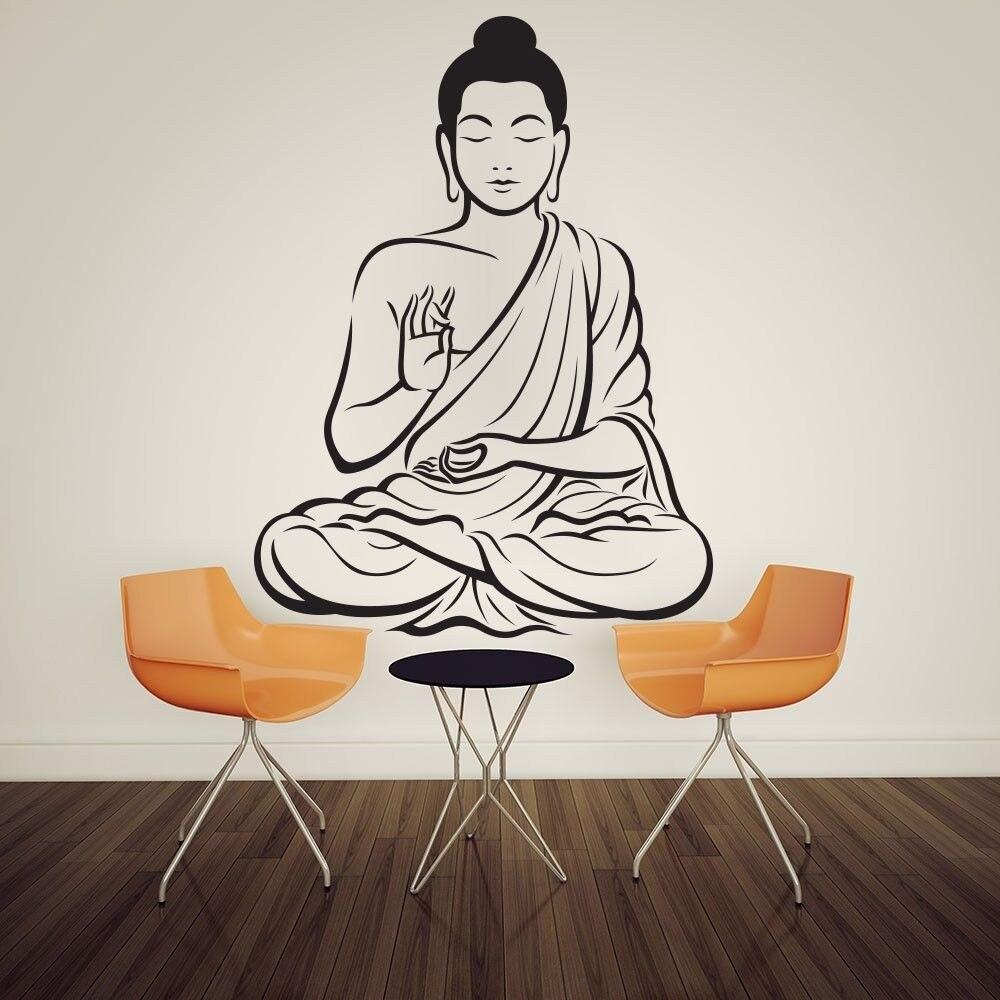 Meditating Buddha Statue Yoga God Om Wall Decal Art Decor Sticker Vinyl Mural Wall Stickers Indovidal Home Decor Wallpaper