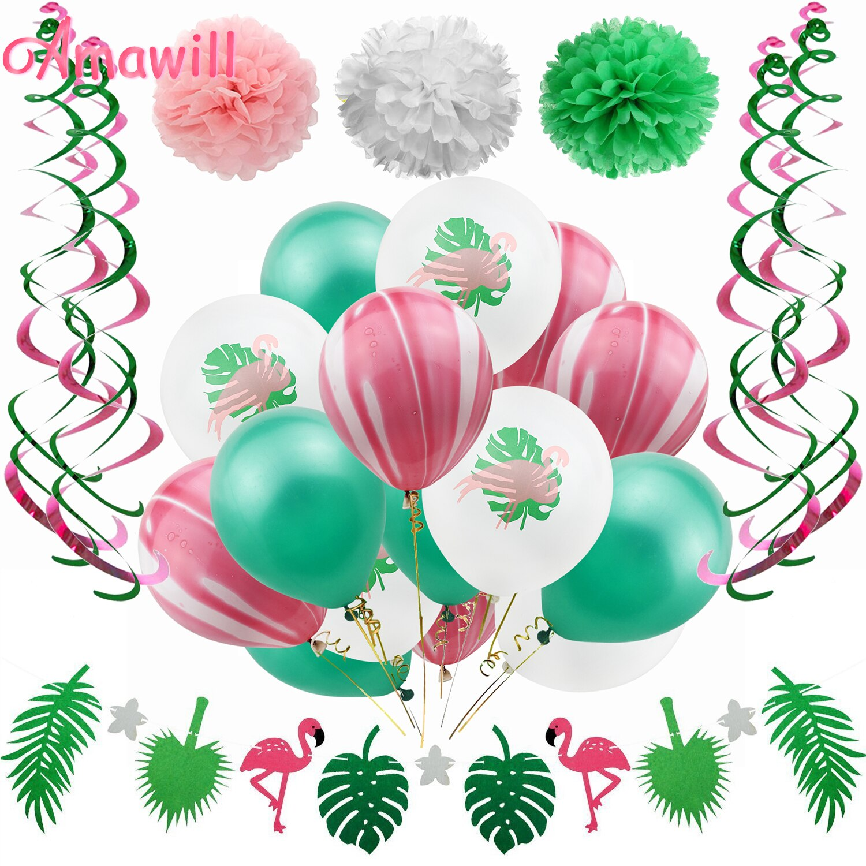 Amawill Flamingo Thema Geburtstag Party Dekorationen Kinder Grün Rosa Folie Swirl Girlande Tropical Sommer Hawaiian Party Liefert 7D