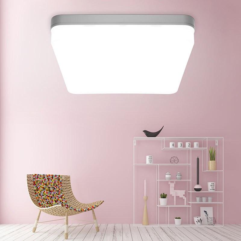 Panel de techo de luz LED lámpara ultrafina cuadrada redonda 6W 9W 18W 24W 36W 48W 85-265V LED montado moderno abajo iluminación para decoración del hogar