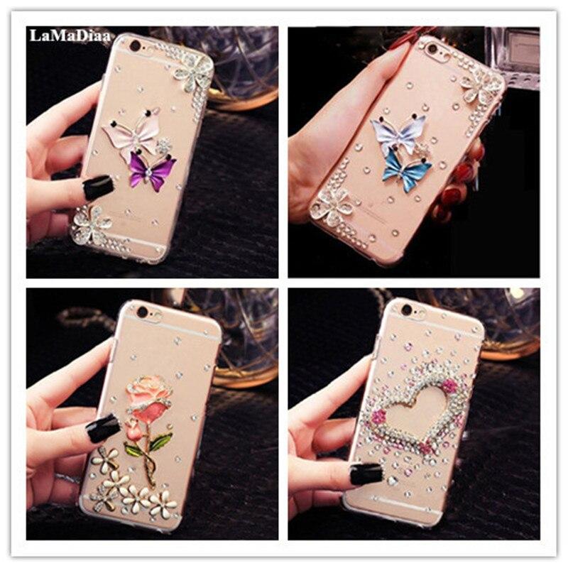 Funda de teléfono diamante brillante para Samsung galays6 S7 S8 S9 S10 S11 Plus Lite Note5 8 9 funda de teléfono transparente cristal corona flor Decoración