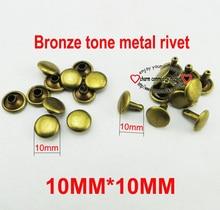 100 STKS 10*10 MM brons tone KLINKNAGEL knoppen naaien kleding accessoires tas past klinknagels MR-014