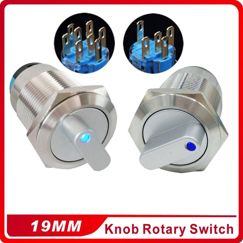 19 мм 2 3 позиционный переключатель кнопочный переключатель DPDT с подсветкой металлический Селекторный поворотный переключатель со светодиодной водонепроницаемой нержавеющей сталью