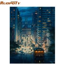 RUOPOTY-Kit de peinture par la main par numéros   Encadrée, tableau abstrait moderne dart mural, peinture par numéro, cadeau Unique pour décoration de maison