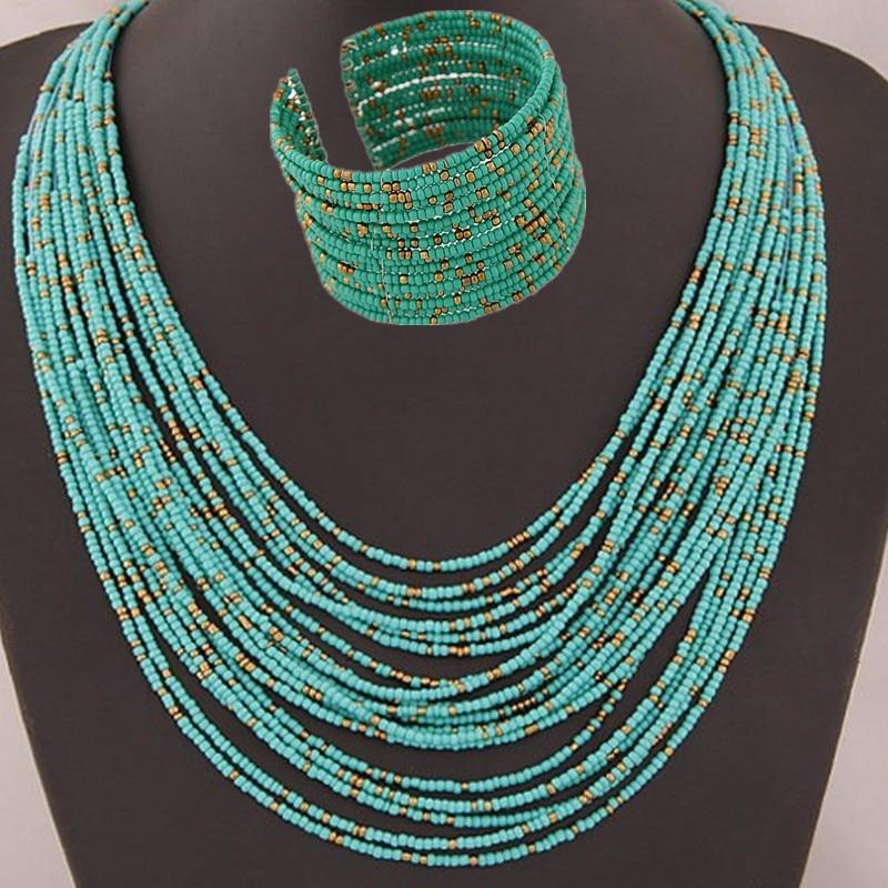 DIEZI, африканские Ювелирные изделия из акрилового бисера, наборы, богемные ожерелья, браслеты для женщин, модное многослойное ожерелье, новый...