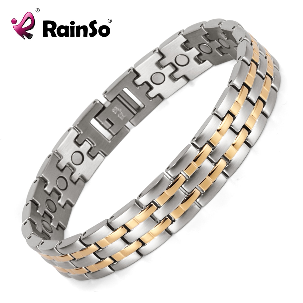 Rainso nouveau Bracelet magnétique Bracelet pour hommes en acier inoxydable soins de santé bracelets magnétiques OSB-1349SG