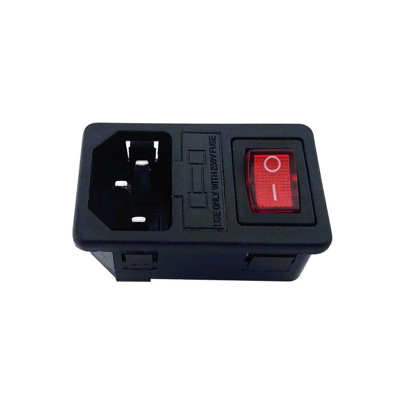 Con 10 a fusible rojo LED interruptor de alimentación AC enchufe 10A 250V conector enchufe AC-D10FS1