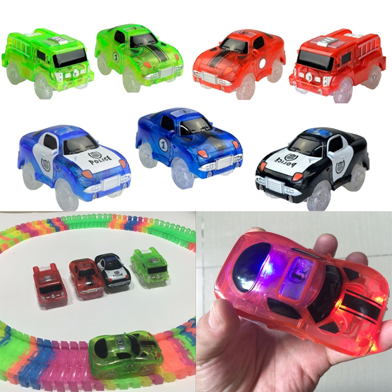 free shipping hp magical cosplay non luminous magical wand new in box with led light free train ticket Magical Tracks Luminous Racing Track Car With Colored Lights DIY Plastic Glowing In The Dark Creative Toys For Kids