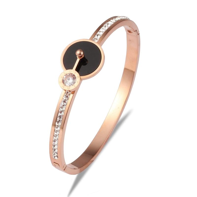Women 316 Stainless Steel Rose Gold Black Shell Bangle Bracelet Crystals High Quality Bangle Wedding Jewelry Charm Bracelet